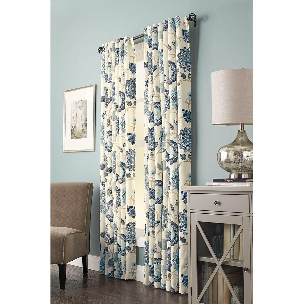 Cottage Shower Curtain Home Decorators Collection 54 In W X 84 In L Floral Cottage Light Filtering Window Panel In Indigo