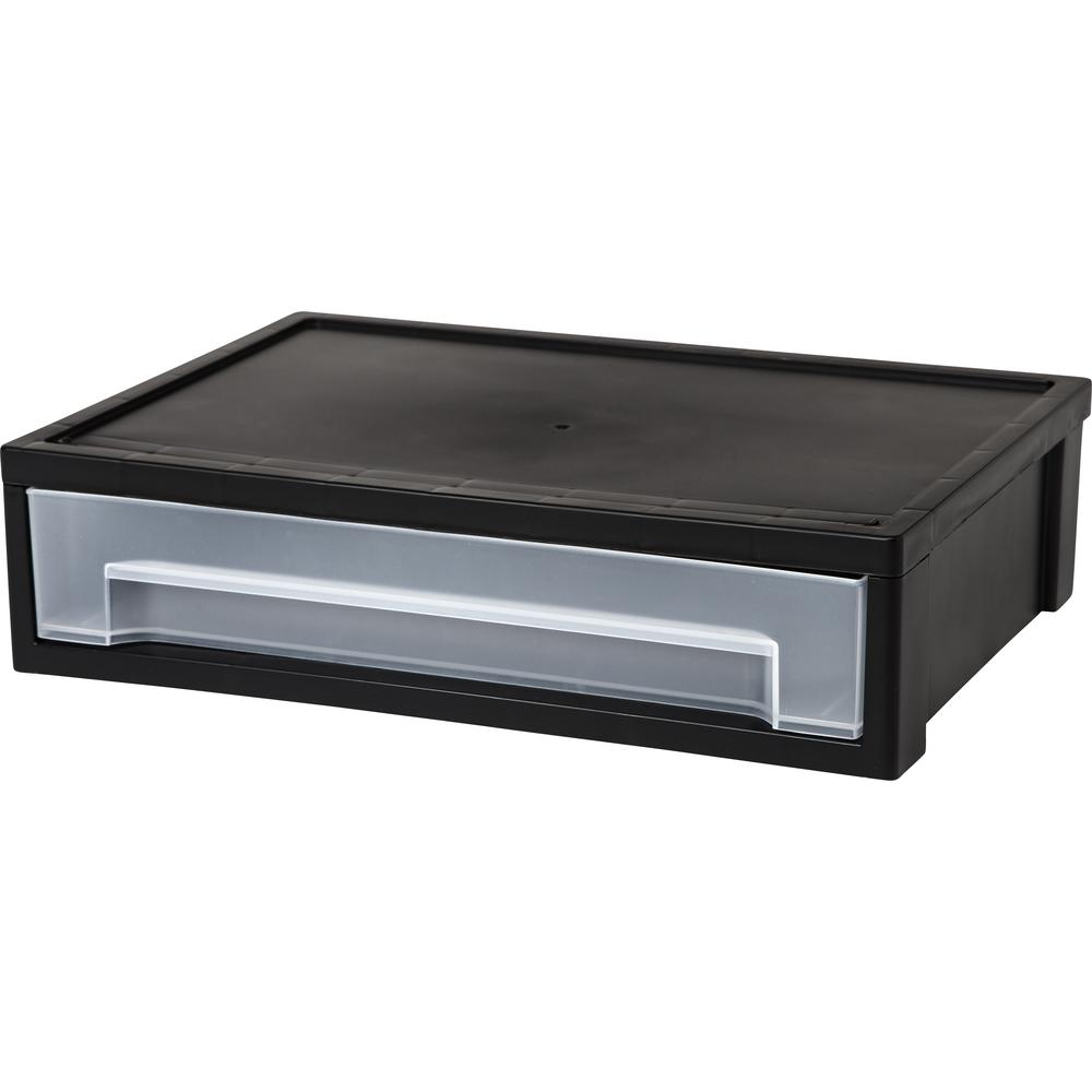 Desk Top Drawers Iris 13 81 In X 3 63 In Black Desktop Letter Size Stacking Drawer