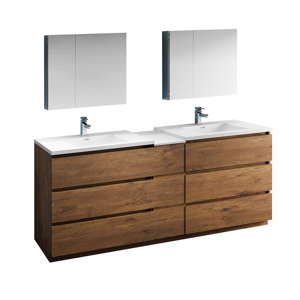 Bathroom Vanities Fresca Lazzaro 84 In Modern Double Bathroom Vanity In Rosewood With Vanity Top In White With White Basins And Medicine Cabinet