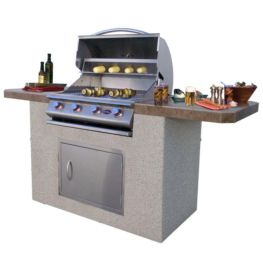 Outdoor Grill Cal Flame 7 Ft Stucco And Tile Bbq Island With 4 Burner Grill In Stainless Steel