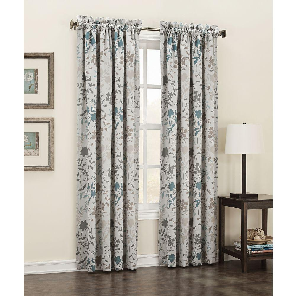 36 Inch Room Darkening Curtains Sun Zero Semi Opaque Stone Abington Floral Printed Room Darkening Curtain Panel 54 In W X 63 In L