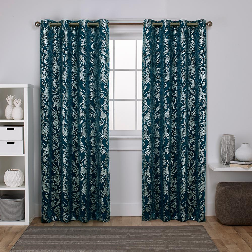 Teal Silver Curtains Watford 52 In W X 108 In L Woven Blackout Grommet Top Curtain Panel In Peacock Blue Silver 2 Panels