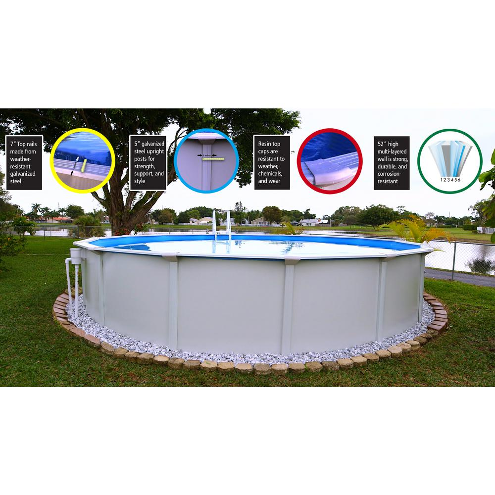 Jacuzzi Pool Top Caps Santorini 18 Ft Round X 52 In D Above Ground Pool Package 1 Additional Item Included