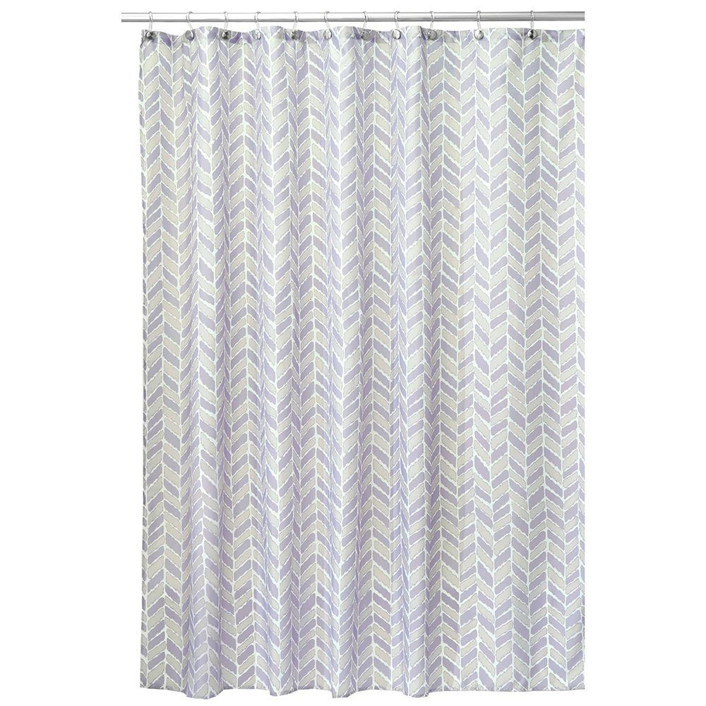 Lavender Shower Curtains Interdesign Nora 72 In X 72 In Shower Curtain In Taupe And