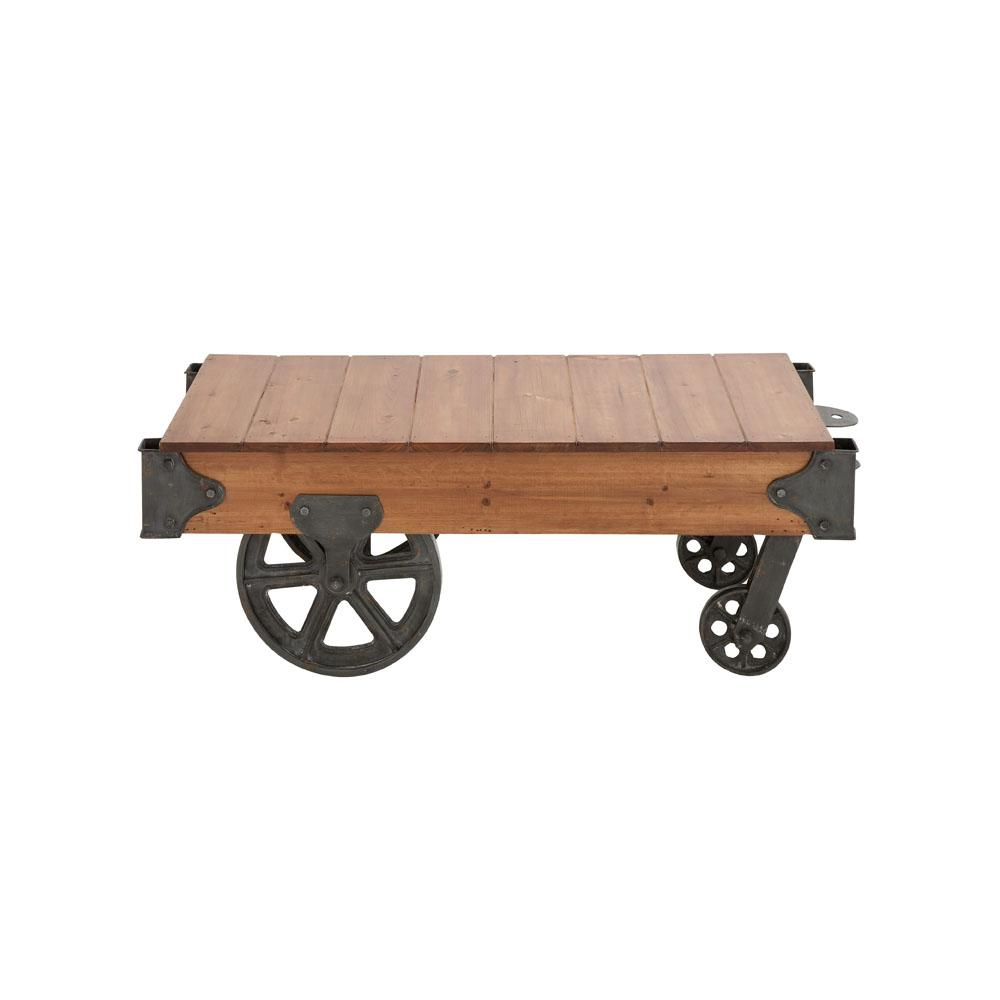 Table On Wheels Natural Brown Rectangular Birch Wood Coffee Table Cart With Wheels