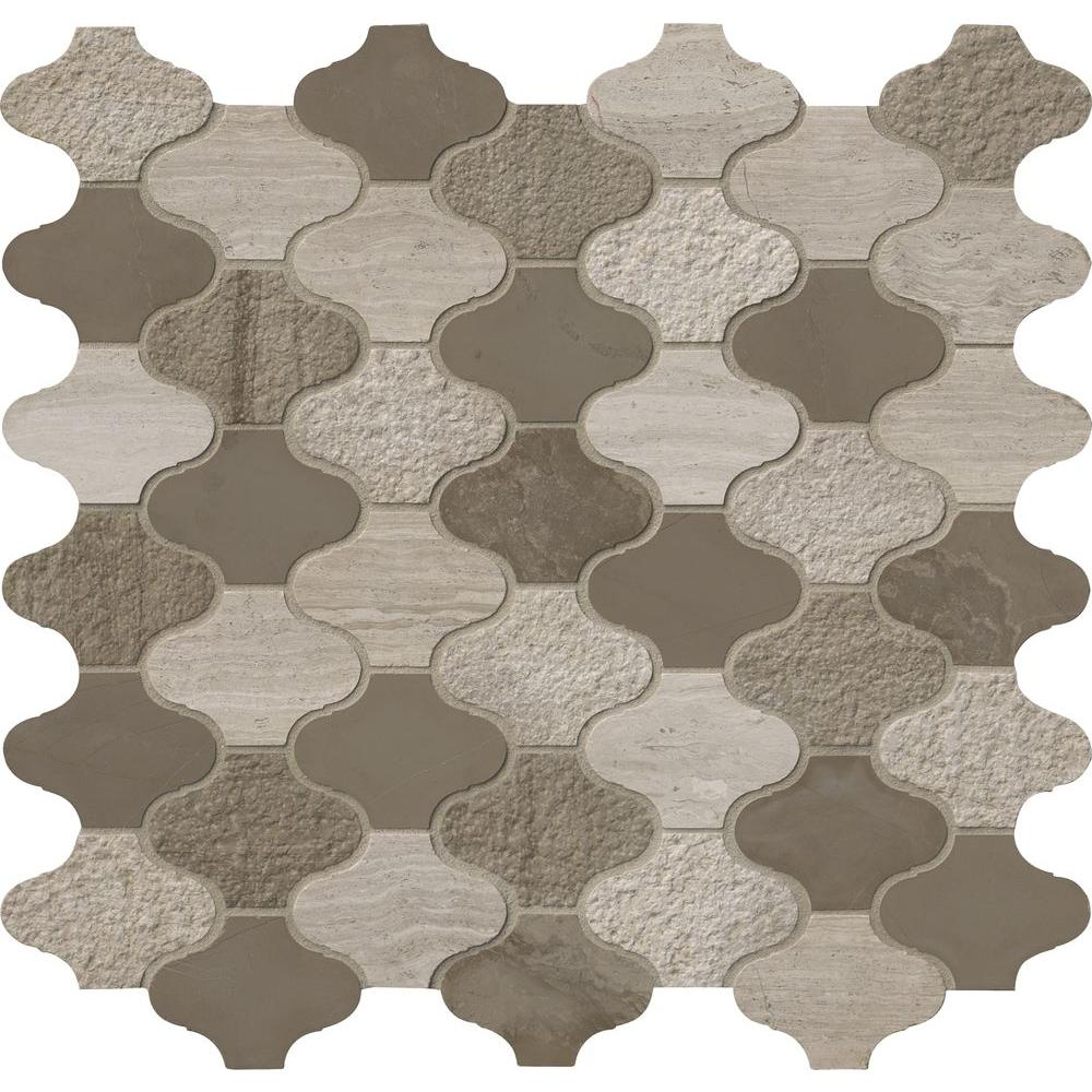 Arabesque Marble Tile Msi Arctic Storm Arabesque 12 In X 12 6 In X 10mm Multi Finish Marble Mesh Mounted Mosaic Tile 10 5 Sq Ft Case