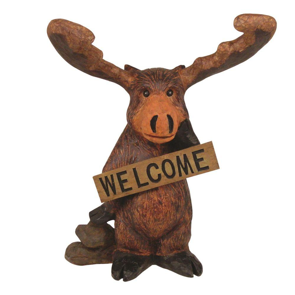 Welcome Statues Garden Call Of The Wild 14 1 2 In Standing Moose Welcome Home And Garden Statue