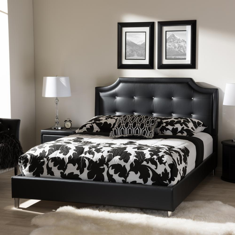 Modern Bedroom Headboard Designs Baxton Studio Carlotta Black Queen Upholstered Bed