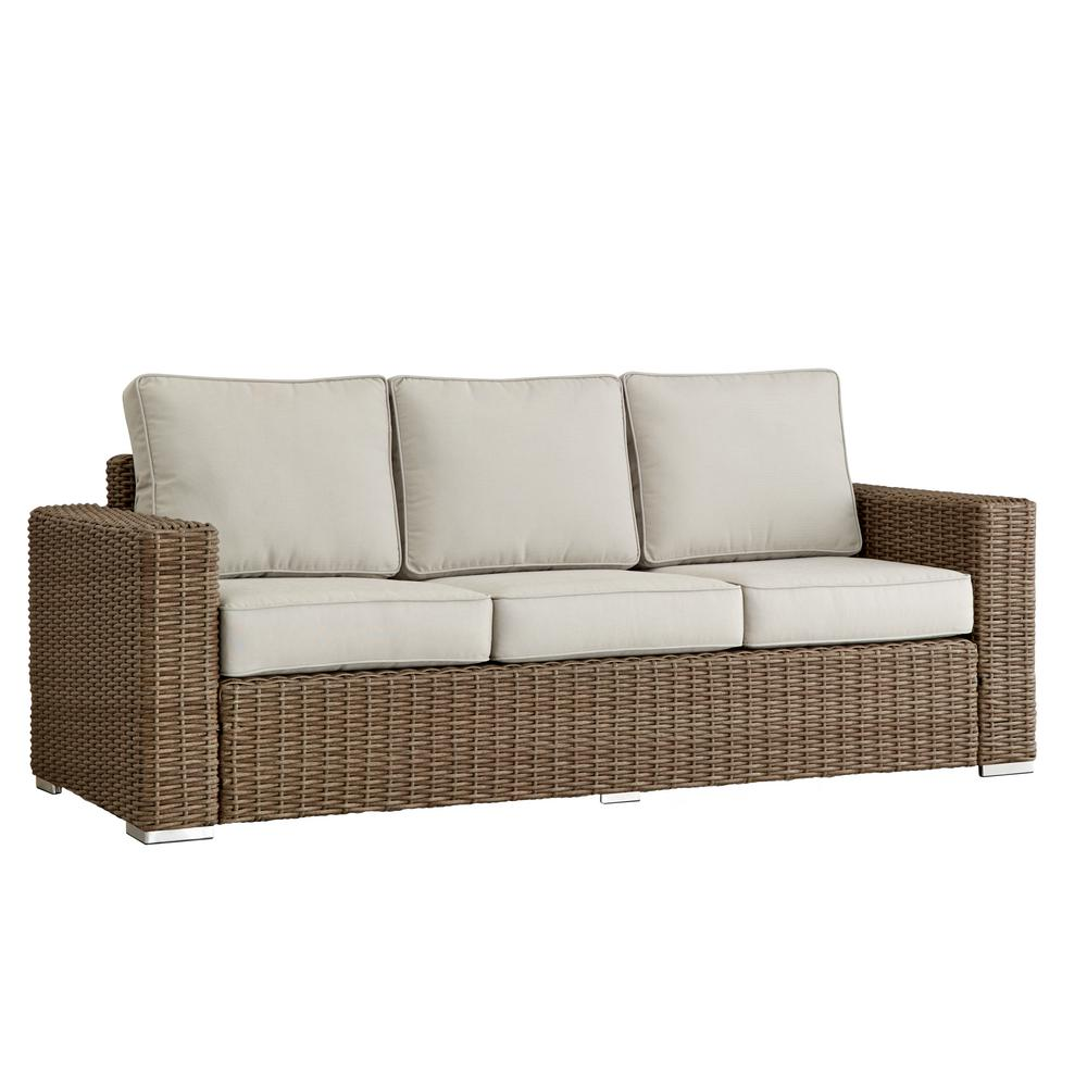 Square Sofa Homesullivan Camari Mocha Square Arm Wicker Outdoor Sofa With Beige Cushion