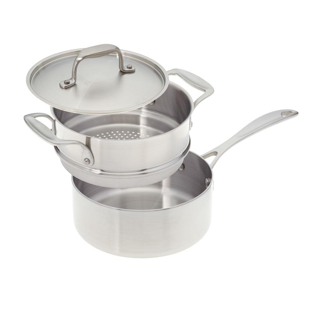 Steamer Saucepan 2 Qt Premium Stainless Steel Saucepan With Steamer Insert And Cover