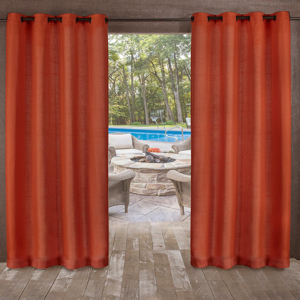 Orange Curtain Panels Delano 54 In W X 84 In L Indoor Outdoor Grommet Top Curtain Panel In Mecca Orange 2 Panels
