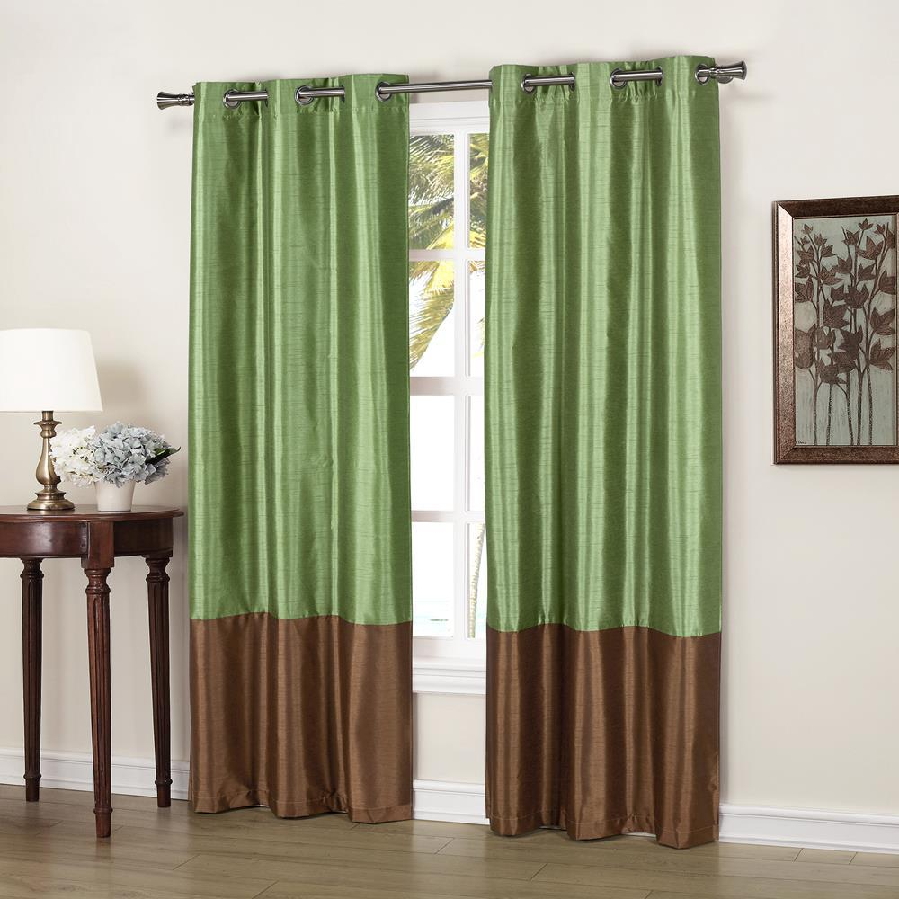 Faux Silk Curtains Duck River Bridgette 37 In X 84 In L Polyester Faux Silk Curtain Panel In Sage Chocolate 2 Pack