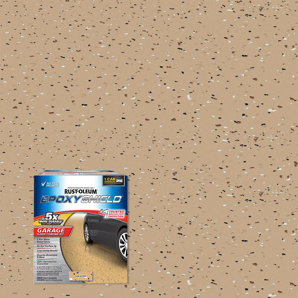 Rust Oleum Epoxyshield 120 Oz Tan High Gloss Low Voc One Car Garage Floor Kit 301245 The Home Depot