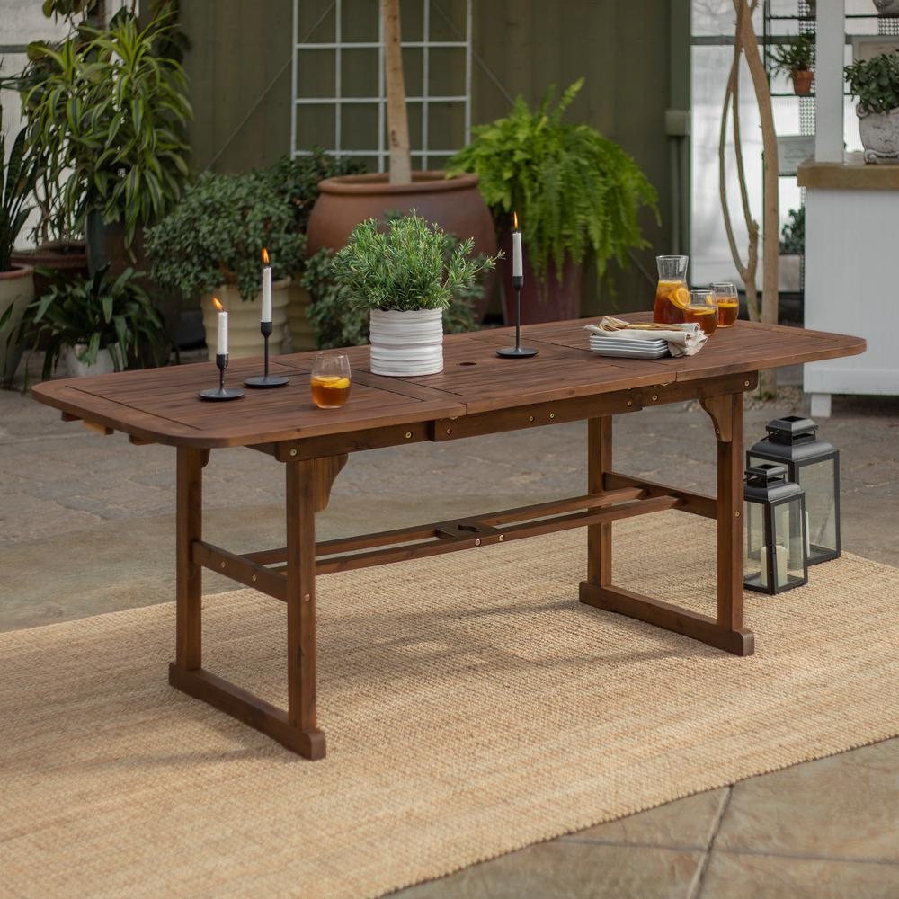 Dark Wood Furniture Walker Edison Furniture Company Boardwalk Dark Brown Acacia Wood Extendable Outdoor Dining Table