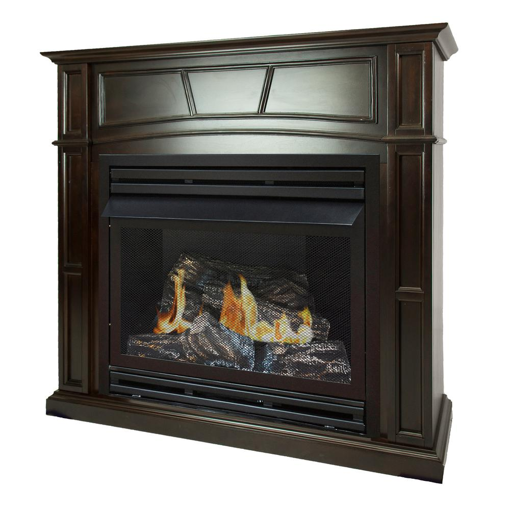 How Does A Vent Free Gas Fireplace Work Pleasant Hearth 46 In Full Size Ventless Propane Gas Fireplace In Tobacco