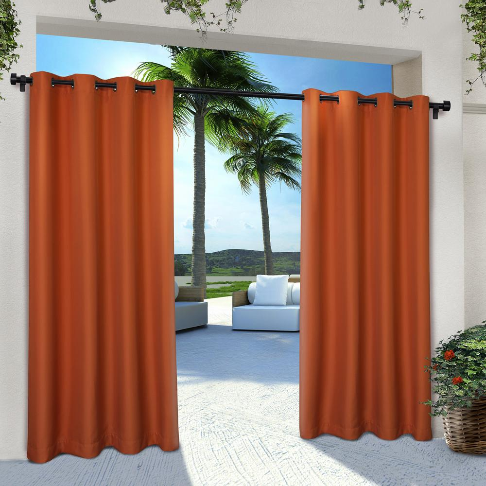 Orange Curtain Panels Indoor Outdoor Solid 54 In W X 84 In L Grommet Top Curtain Panel In Mecca Orange 2 Panels