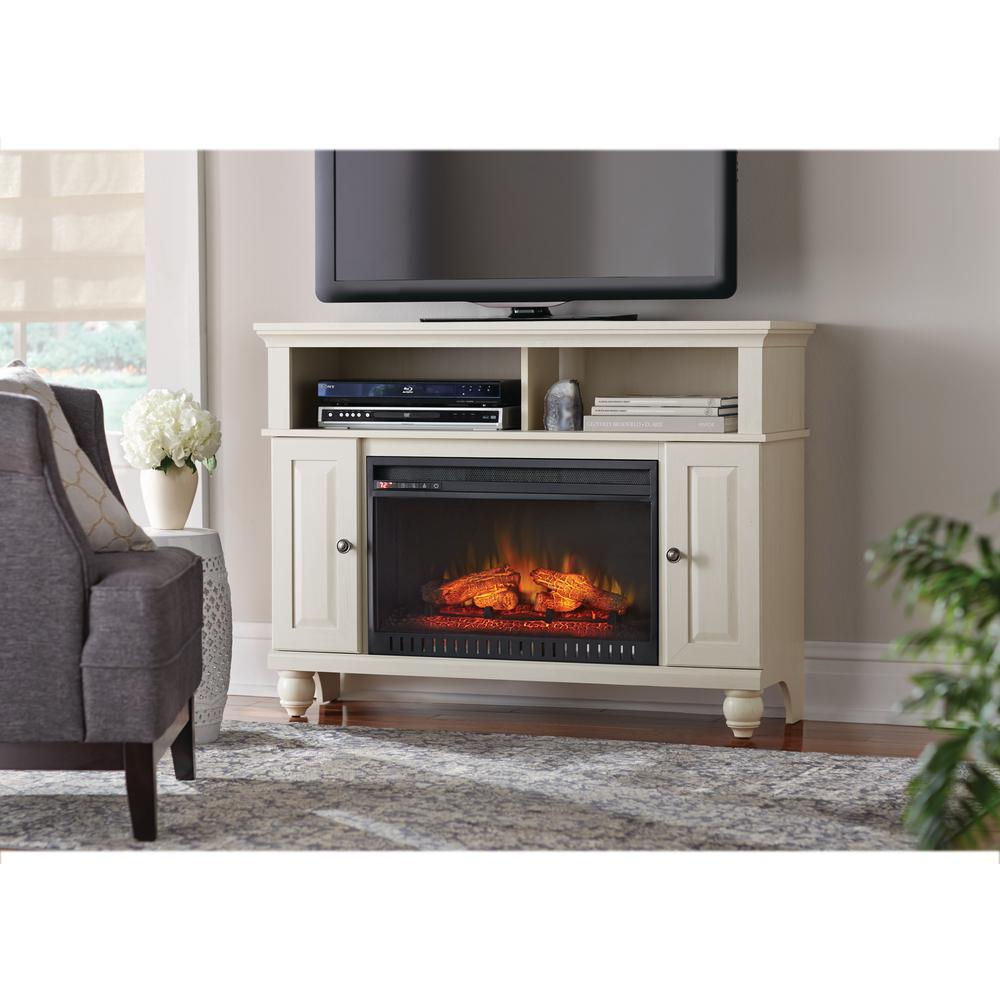 Fireplace Tv Stand Home Depot Home Decorators Collection Ashurst 46 In Tv Stand Infrared Electric Fireplace In Washed Linen