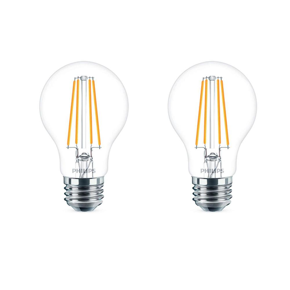40 Watt Led Philips 40 Watt Equivalent A19 Dimmable Energy Saving Clear Glass Indoor Outdoor Led Light Bulb Daylight 5000k 2 Pack