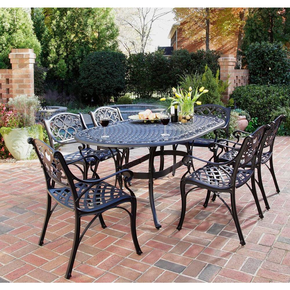 7 Piece Patio Set Home Styles Biscayne Black 7 Piece Patio Dining Set