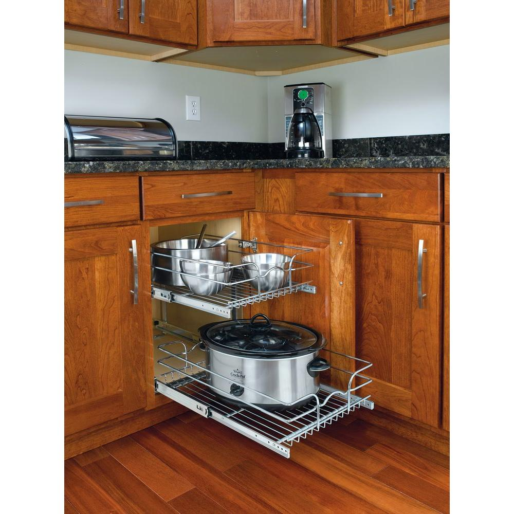 Kitchen Cabinets With Pull Out Shelves Details About 2 Tier Wire Basket Cabinet Pull Out Chrome Shelves Shelf Sliding Kitchen Storage