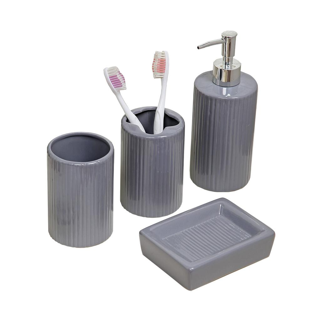 Bathroom Dispenser Set Indecor Home 4 Piece Bath Accessory Set In Grey