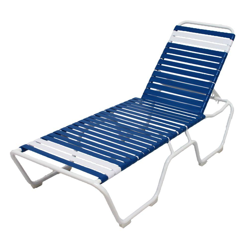 Blue Lounge Marco Island White Commercial Grade Aluminum Vinyl Strap Outdoor Chaise Lounge In Blue And White 2 Pack