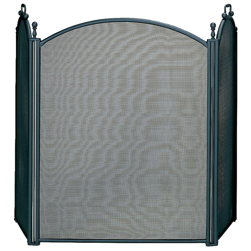 Brass Fireplace Screen Uniflame Black Large Diameter 3 Panel Fireplace Screen With Woven Mesh