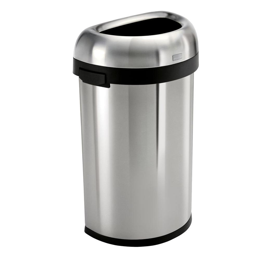 Metal Indoor Trash Can Simplehuman 60 Liter 16 Gal Heavy Gauge Brushed Stainless Steel Semi Round Open Top Commercial Trash Can