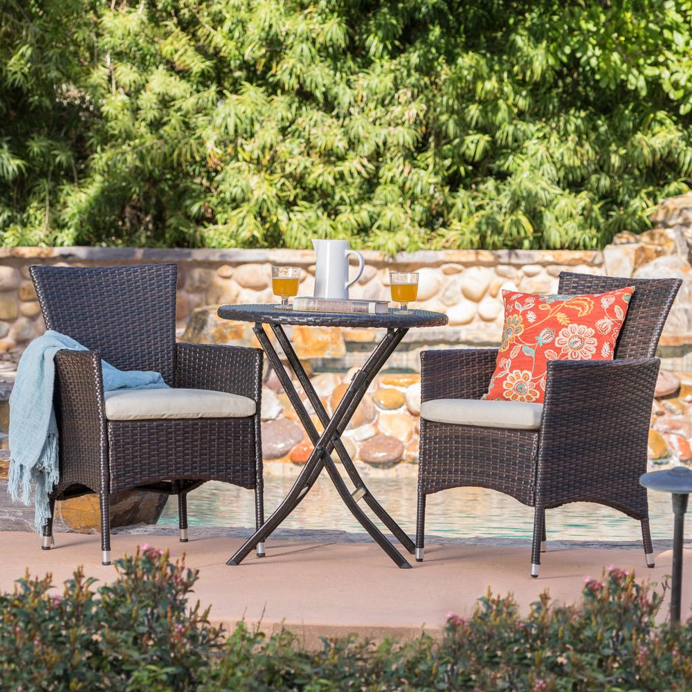 Round Patio Furniture Noble House Malaga Multi Brown 3 Piece Wicker Round Outdoor Bistro Set With Beige Cushions