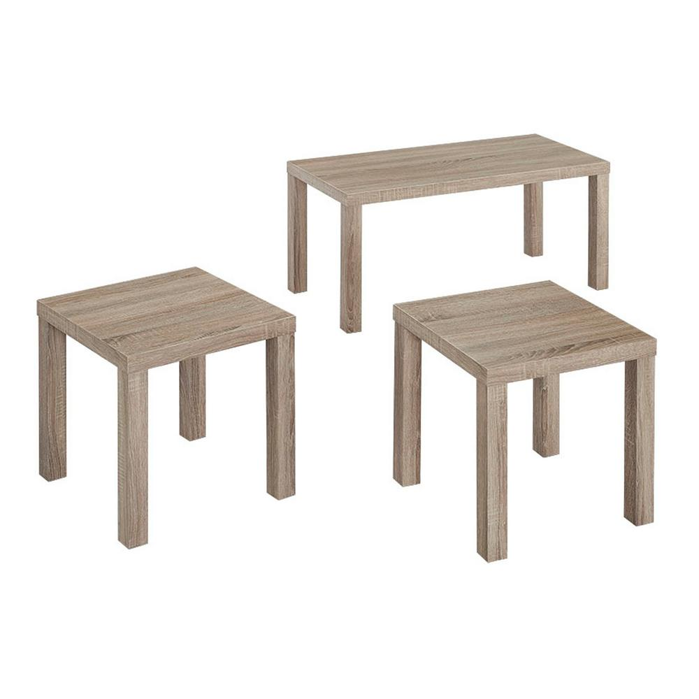 Coffee And Side Tables Walker Edison Furniture Company Essential Driftwood 3 Piece End Side Table Set