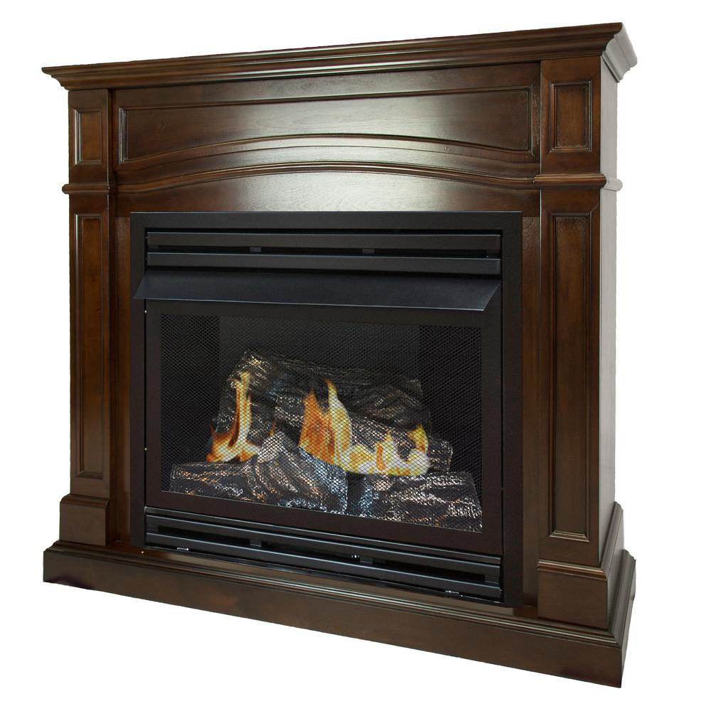 Btu Gas Fireplace Pleasant Hearth 32 000 Btu 46 In Full Size Ventless Natural Gas Fireplace In Cherry