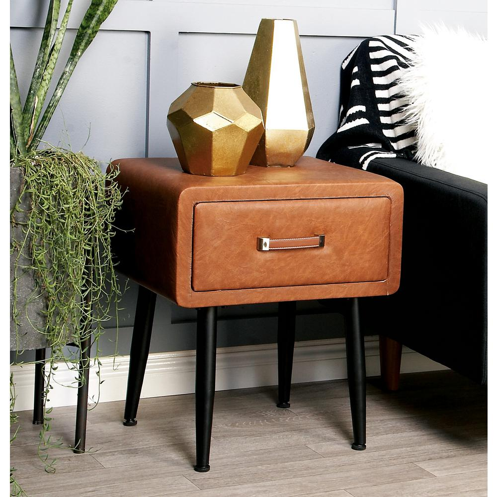 Black End Tables With Drawer Brown Faux Leather Storage Side Table With Black Iron Legs