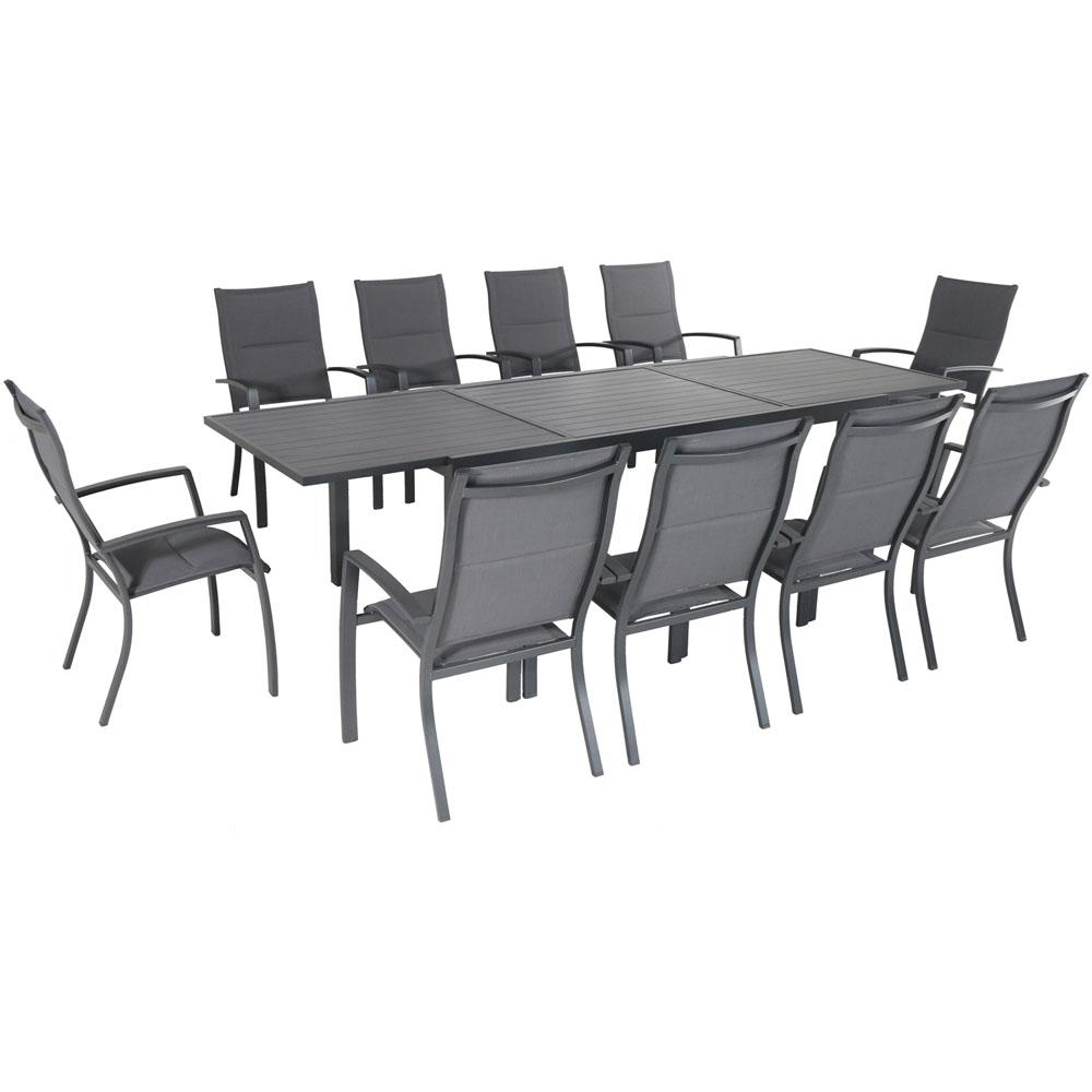 10 Seat Dining Table Set Hanover Naples 11 Piece Aluminum Outdoor Dining Set With 10 Sling Chairs And A 40 In X 118 In Expandable Dining Table