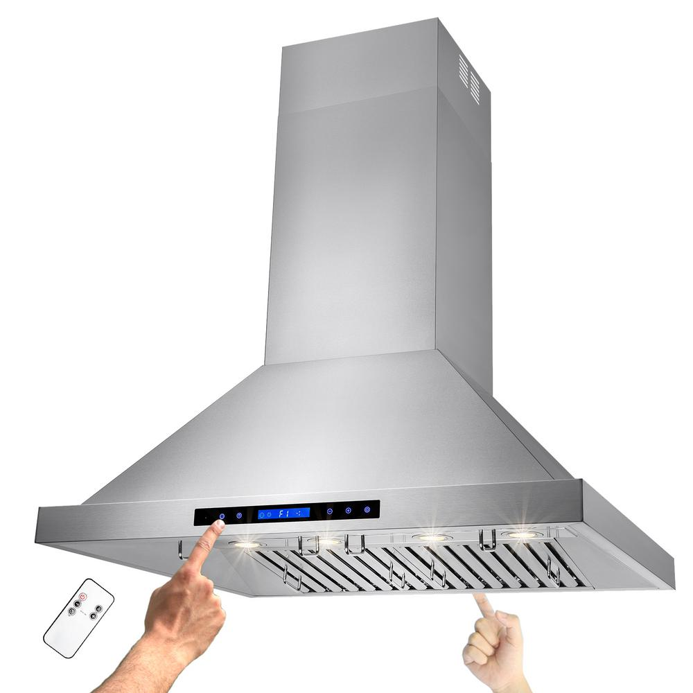 Kitchen Island With Range Akdy 36 In Kitchen Island Mount Range Hood In Stainless Steel With Remote And Touch Control Panel