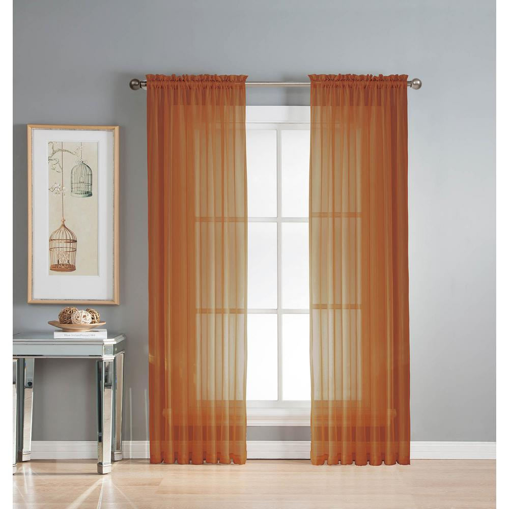 Orange Curtain Panels Window Elements Sheer Diamond Sheer Voile Extra Wide 84 In L Rod Pocket Curtain Panel Pair Rust Set Of 2