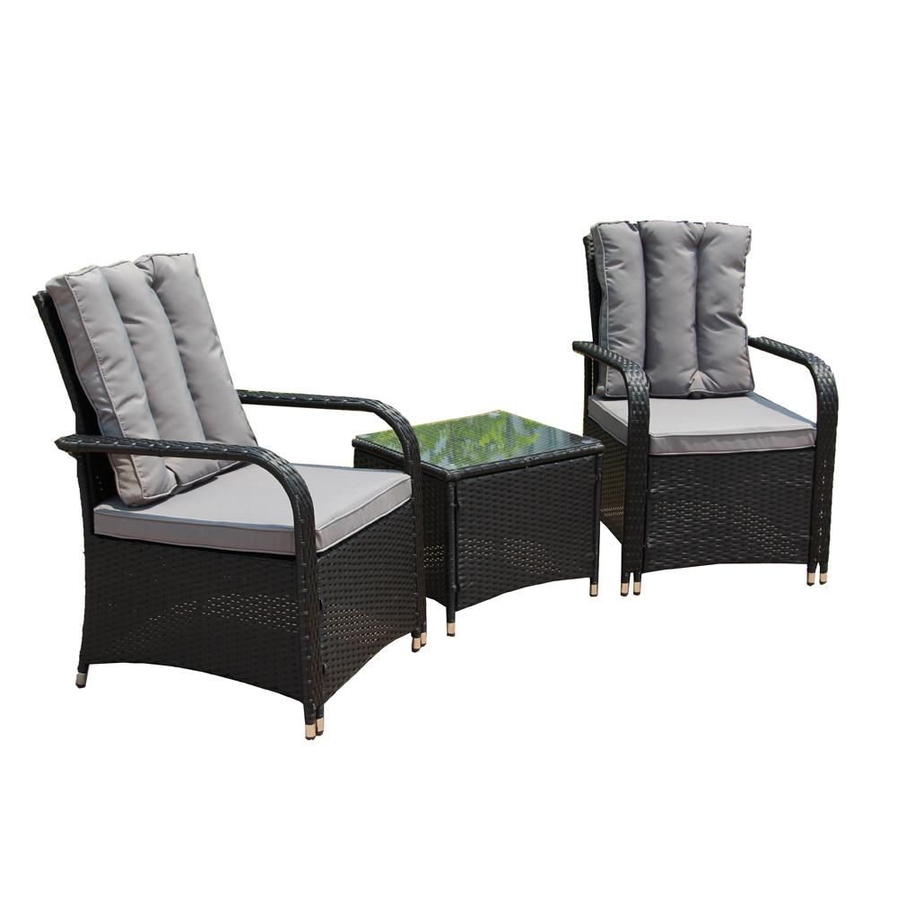 Baptist 6 Piece Rattan Sofa Set With Cushions Aleko Black 3 Piece Wicker Patio Conversation Set With Grey Cushions