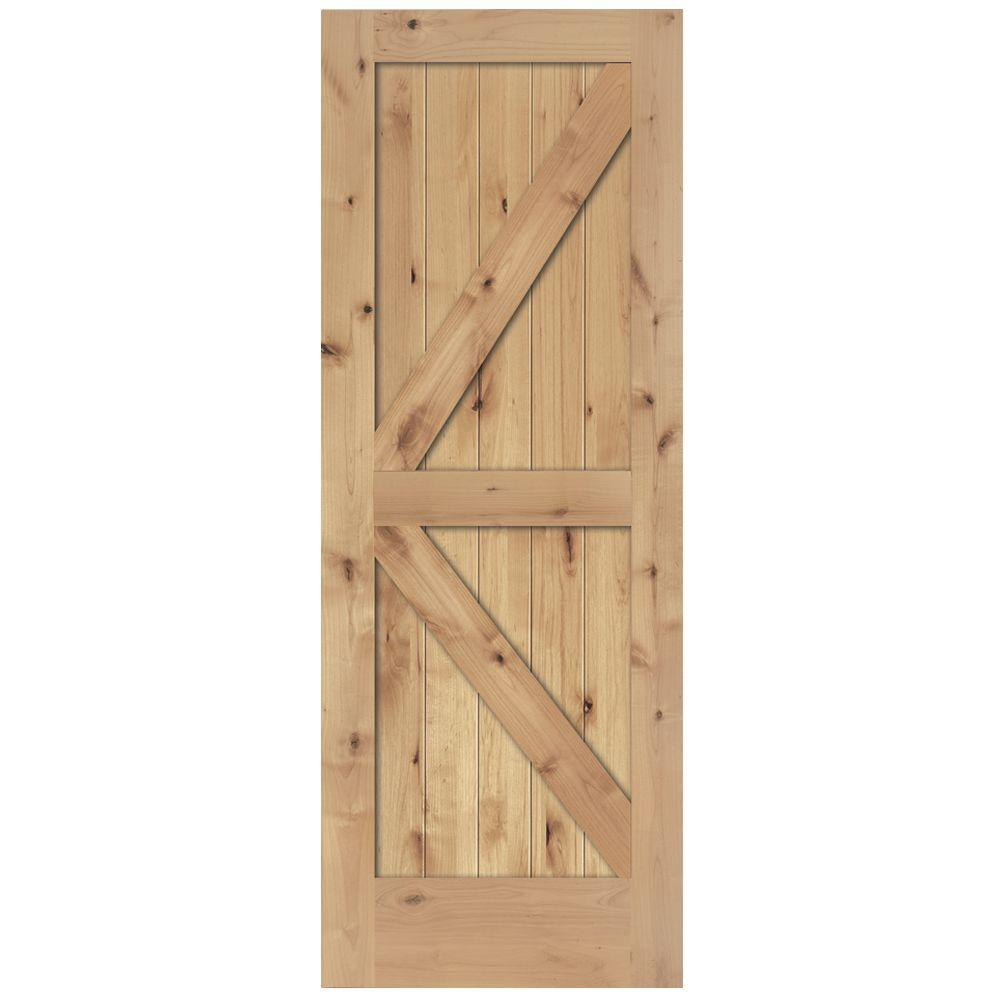 Barn Doors For Homes Steves Sons 24 In X 80 In 2 Panel Solid Core Unfinished Knotty Alder Interior Barn Door Slab