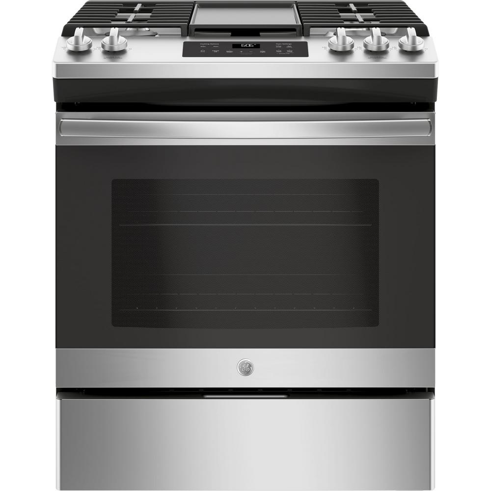 Cucina A Gas Smeg Vintage 5 3 Cu Ft Slide In Gas Range With Steam Cleaning Oven In Stainless Steel
