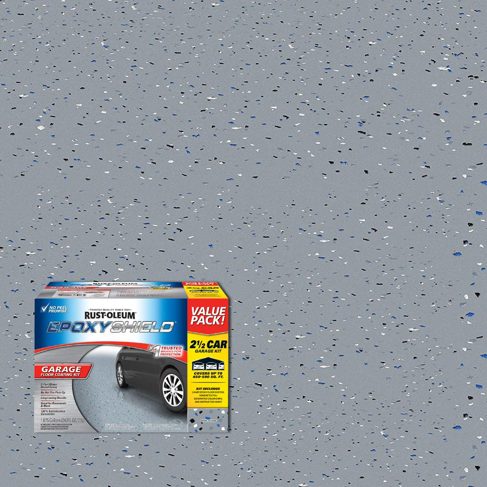 Garage Floor Paint Chips 2 Gal Gray 2 Part High Gloss Epoxy Garage Floor Coating Kit