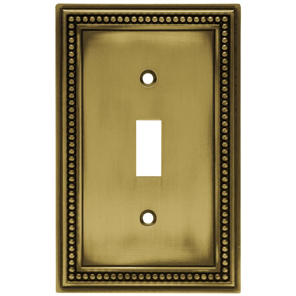 Vintage Light Switch Plate Covers Beaded Decorative Single Switch Plate Tumbled Antique Brass