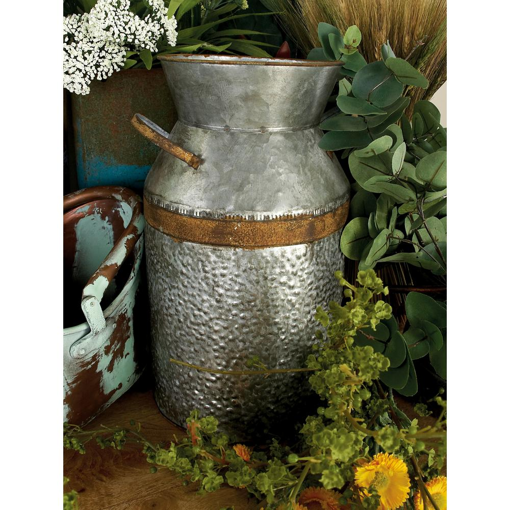 Decorative Milk Urn Litton Lane 14 In H Gray Galvanized Tin Decorative Milk Can