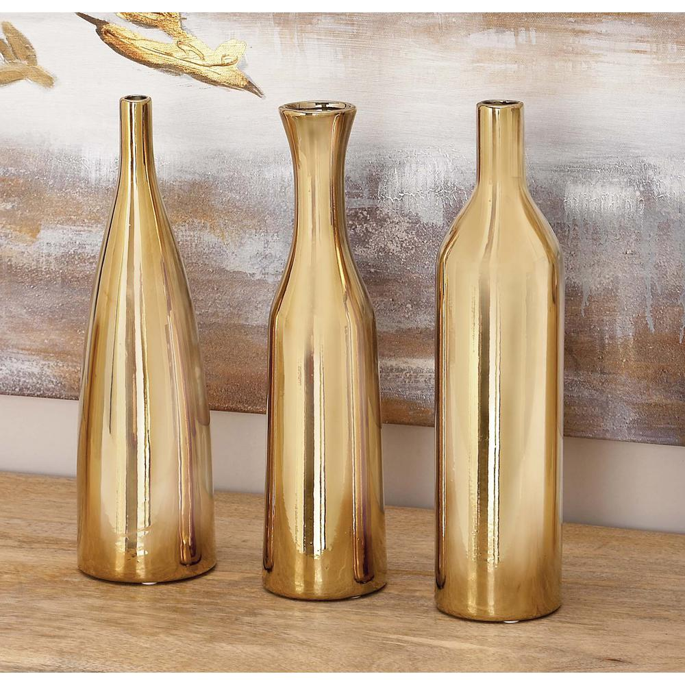 Vase Gold Litton Lane 12 In Modern Yellow And Gold Ceramic Decorative Vases Set Of 3