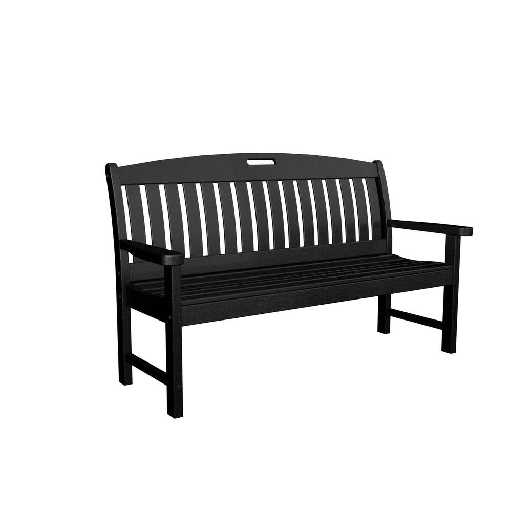 Black Bench Polywood Nautical 60 In Black Plastic Outdoor Patio Bench