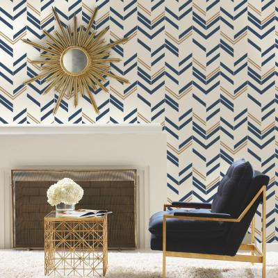 RoomMates 28.18 sq. ft. Blue Chevron Stripe Peel and Stick Wallpaper-RMK9002WP - The Home Depot