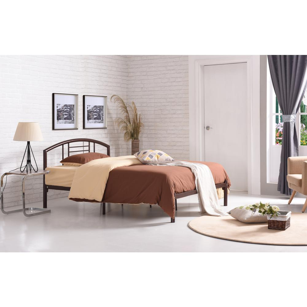 Metal Bed Headboards Hodedah Low Line Queen Size Metal Bed With Headboard In Bronze