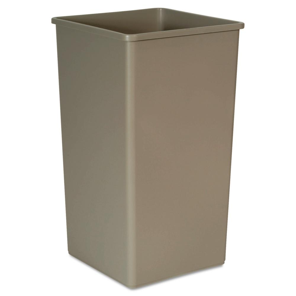 Laundry Trash Cans Rubbermaid Commercial Products Untouchable 50 Gal Beige Square Trash Can