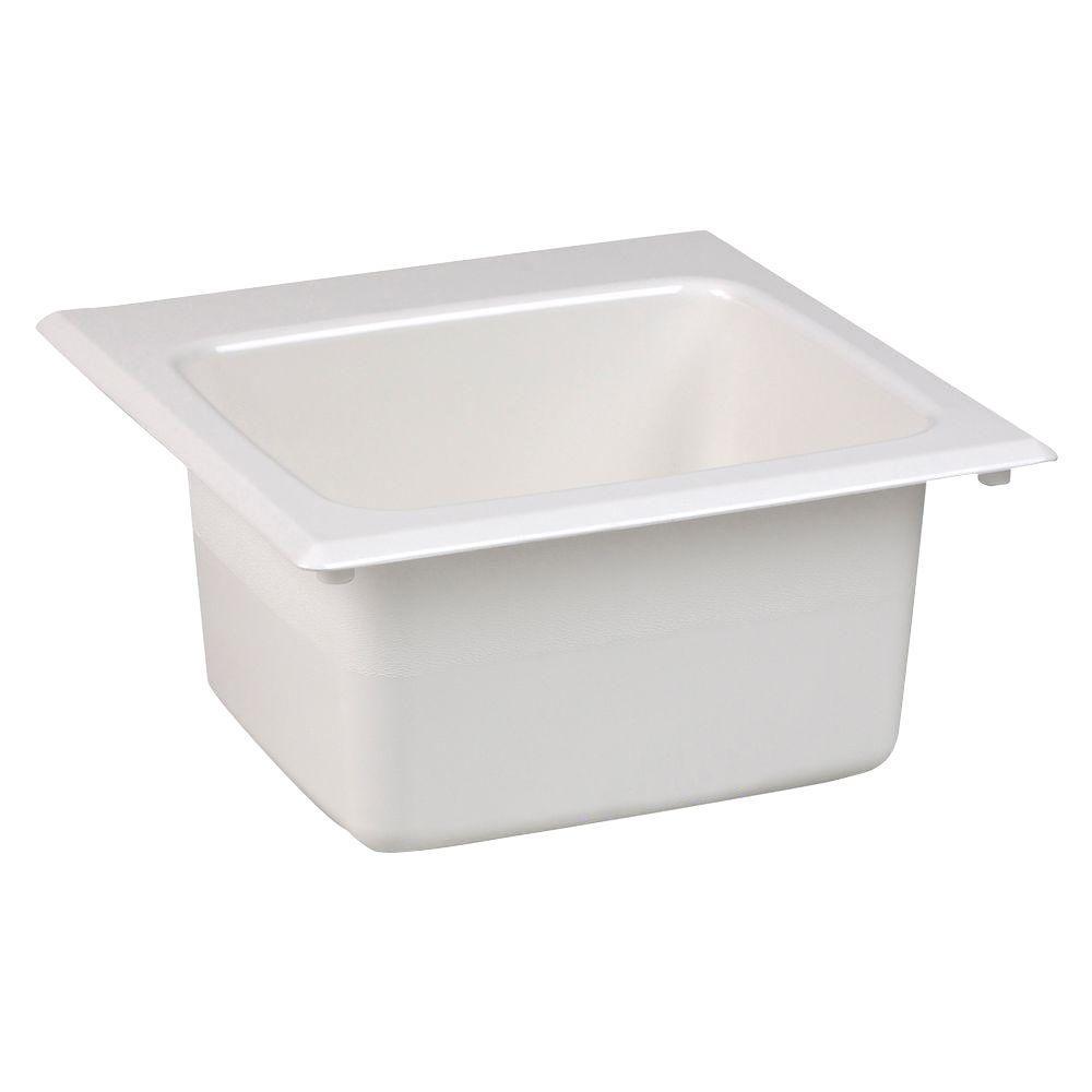 Mustee 15 In X 15 In Fiberglass Self Rimming Bar Sink In
