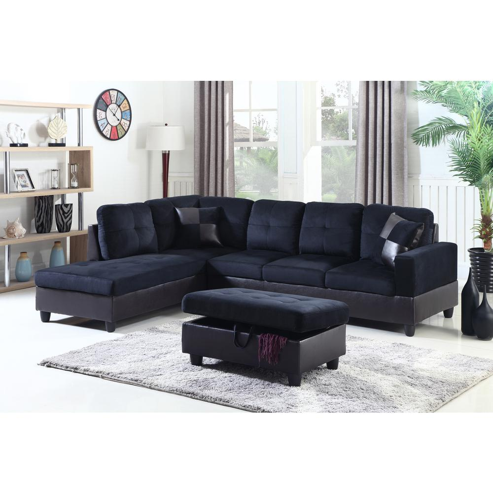 Blue Sectional Midnight Blue Left Chaise Sectional With Storage Ottoman