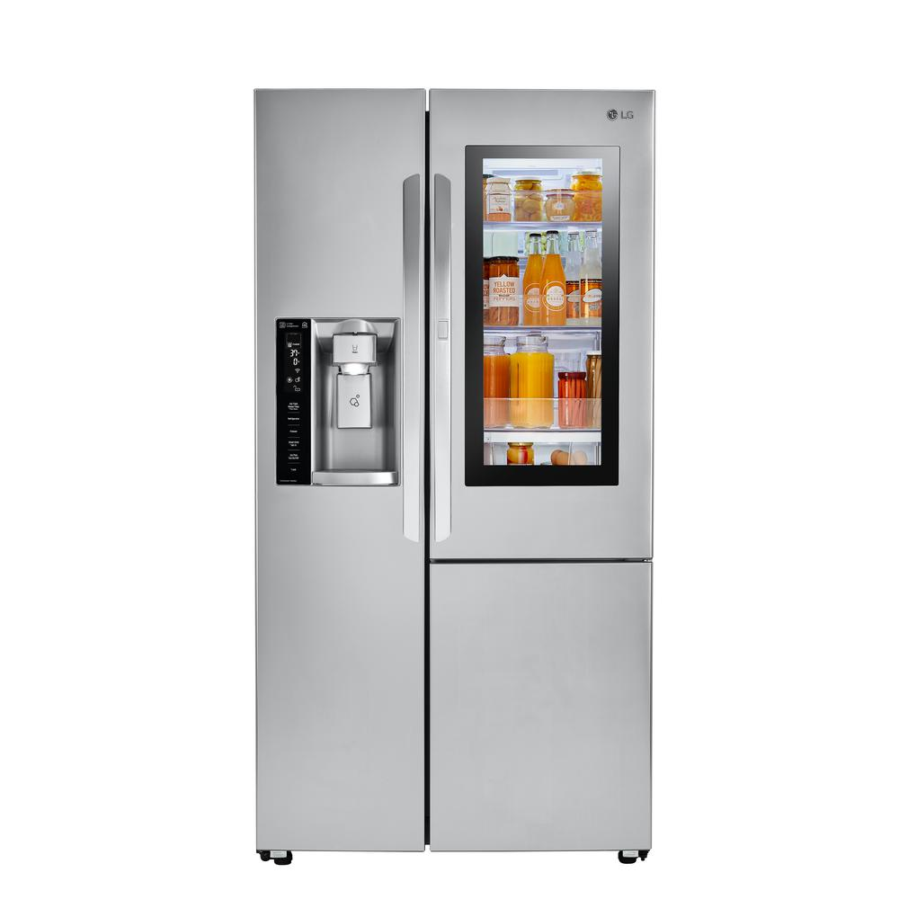Home Depot Fridges Canada Lg Electronics 26 Cu Ft Side By Side Smart Refrigerator With Instaview Door In Door And Wi Fi Enabled In Stainless Steel