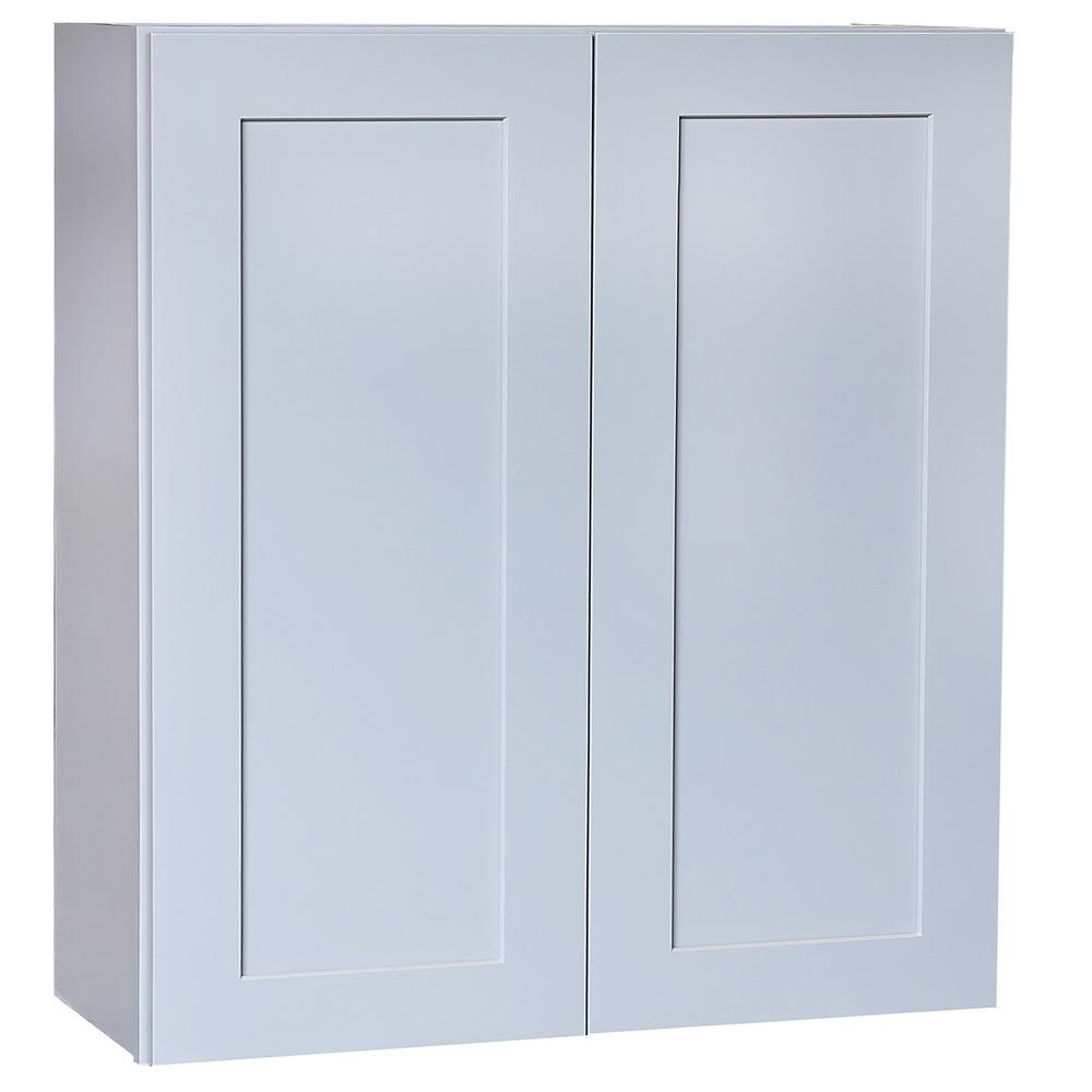 Shaker Doors Kitchen Plywell Ready To Assemble 42x30x12 In Shaker Double Door Wall Cabinet With 2 Shelves In Gray